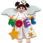 Angelina Angel<br>with Brunette Hair<br>Personalized Christmas Ornament