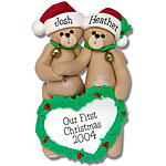 Belly Bear Family of 2<br>Personalized Family Ornament