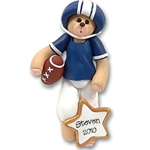 Blue Football Belly Bear<br>Personalized Ornament