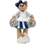 Blue Cheerleader Belly Bear<br>Personalized Ornament