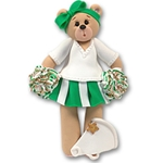 Green Cheerleader Belly Bear<br>Personalized Ornament