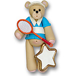 Boy Tennis Belly Bear<br>Personalized Ornament