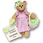 Belly Bear Flowergirl<br>Personalized Wedding<br>Ornament
