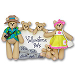 Belly Bear Vacation Family of 5 Personalized Family Ornament