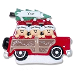 Belly Bear Family of 3 in Woody Wagon RESIN Personalized Family Ornament