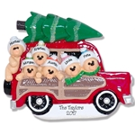 Belly Bear Family of 6 in Woody Wagon RESIN Family Ornament