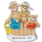RESIN<br>Beach Belly Bears<br> Family of 3<br>Personalized Ornament