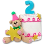 2nd Year Birthday Cake<br>Personalized Ornament