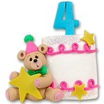 4th Year Birthday Cake<br>Personalized Ornament