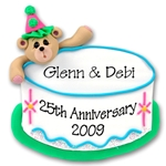 Bear &amp; Birthday Cake<br>Personalized Ornament