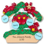 RESIN<br>Rockin' Robin<br>Family of 4 Personalized Ornament