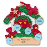 RESIN<br>Rockin' Robin<br>Family of 5 Personalized Ornament
