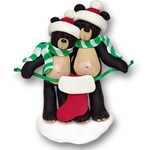 Black Bear Couple<br>w/1 Stocking<br>Personalized Family Ornament