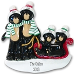 Black Bear Family of 4<br>RESIN Family Ornament