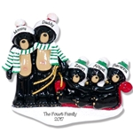 RESIN Black Bear Family of 5 on Sled Personalized Family Ornament
