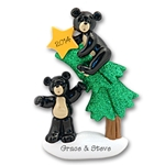 Black Bear Family of 2<br>w/Christmas Tree<br>Couples Ornament