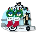 RESIN<br>Black Bear Family of 2/Couples Camping / Camper Personalized Family Ornament