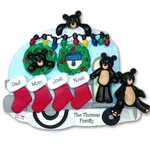 RESIN<br>Black Bear Family of 4 Campimg / Camper Personalized Family Ornament
