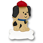 Puppy on Bone<br>Personalized Dog Ornament
