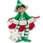 Whaldo Elf w/3 Stockings<br>Personalized Family Elf Ornament