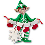 Whaldo Elf w/4 Stockings<br>Personalized Family Ornament