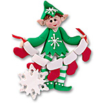 Whaldo Elf w/5 Stockings<br>Personalized Family Ornament