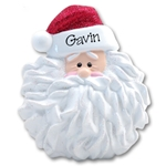 Santa Face w/Noodle Beard<br>Personalized Ornament - RESIN
