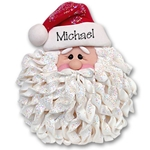 Santa Face w/Noodle Beard<br>Personalized Ornament