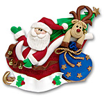 Santa in Sled w/Tree &amp; Rudolph<br>Personalized Ornament