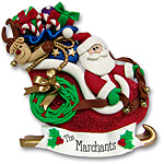 Santa in Sled w/Gifts &amp; Rudolph<br>Personalized Ornament