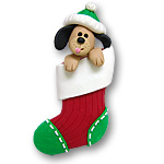 Boy Dog in Small Stocking<br>Personalized Dog Ornament