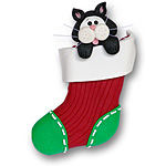 Black Cat in Small Stocking<br>Personalized Cat Ornament