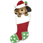 Dog in Large Stocking<br>Personalized Pet Ornament