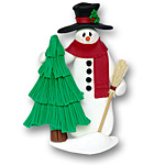 Snowman w/Tree &amp; Broom<br>Personalized Ornament