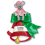 Merry Mouse on Bell<br>Personalized Ornament