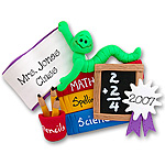 Bookworm<br>w/School Supplies<br>Personalized Ornament<br>Teachers Gift