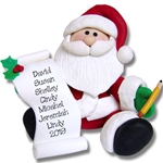Santa w/List<br>Personalized Ornament