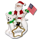 Santa on Polar Bear<br>Personalized Ornament