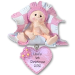 RESIN<br>Baby in Pink Blanket<br>Personalized<br>Baby Ornament