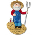 RESIN<br>Hillbilly Farmer Santa<br>Personalized Ornament