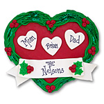 Heart w/3 Hearts<br>Personalized Family Ornament