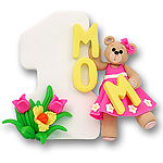 #1 Mom w/Belly Bear Girl<br>Personalized Ornament