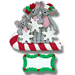 Merry Mouse Family of 3<br>Personalized Family Ornament