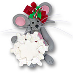 Merry Mouse Mom w/Snowflake Personalized Ornament