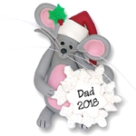 Merry Mouse w/Snowflake Personalized Ornament