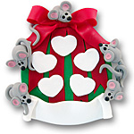 Ornament w/5 Mice<br>Personalized Family Ornament