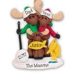 Mortimer Moose Family of 3 Personalized Ornament  Limited Edition