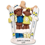 Mortimer Moose Skiing Couple  Personalized Couples Ornament  Limited Edition