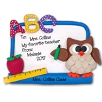 Owl w/Dry Erase Board<br>Teacher / School Ornament <br>Limited Edition