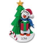 Petey Penguin with Christmas Tree Personalized Christmas Ornament